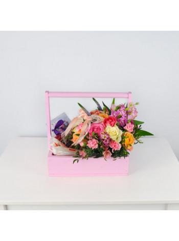 """Цветы в деревянном ящике """"Ах, этот вечер…"""""""