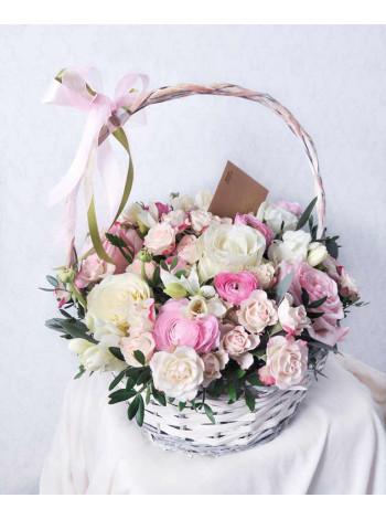 "Корзина с цветами ""Цветочная пудра"""