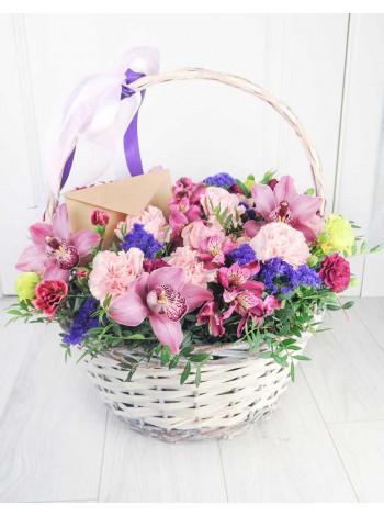 """Корзина с цветами """"Пурпурный вечер"""""""