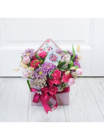"""Цветы в коробке конверте """"Белла"""""""