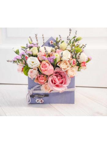 """Цветы в деревянном ящике - конверте """"Конфетти в Провансе"""""""