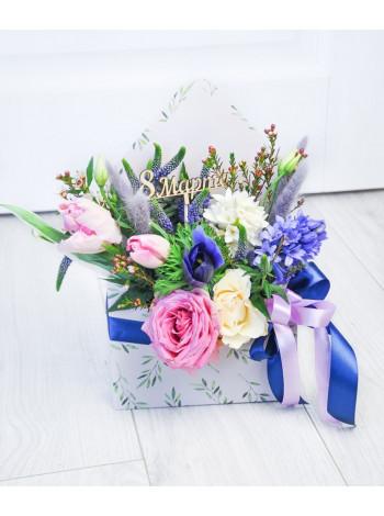 "Цветы в коробке конверте ""Кристина"""