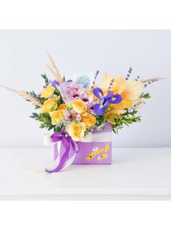"""Цветы в деревянном ящике """"Лианн"""""""