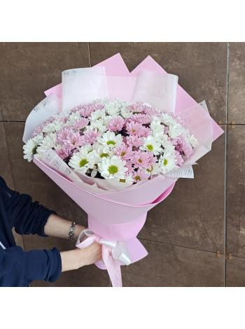 Букет из белой и розовой хризантемы ромашка