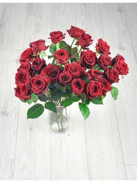 Букет из 25 красных роз.