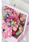 Цветы в деревянном ящике «Пастельная фантазия»