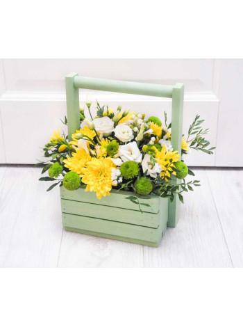 Цветы в деревянном ящике «Солнечное настроение»